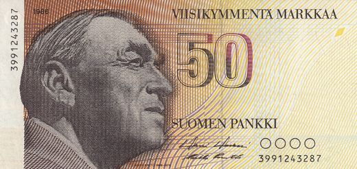 50 Markkaa 1986 3991243287 ( UNC ) Replacement note HOL - Pun