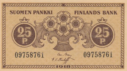 25 Penniä 1918 09758761 ( UNC ) COL - The