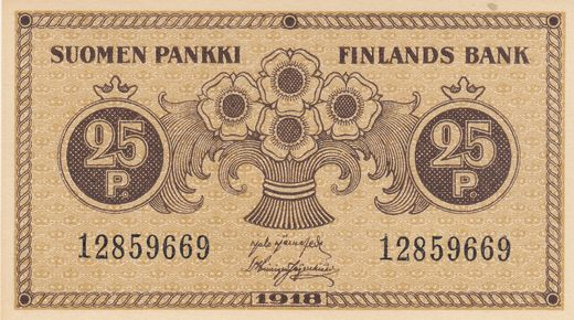 25 Penniä 1918 12859669 ( UNC ) JÄR – His