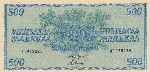 500 Markkaa 1956 A1938225 ( VF ) yellowish paper WAR - Sac