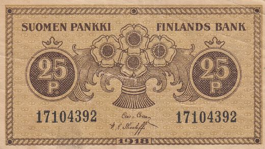 25 Penniä 1918 17104392 ( VF ) COL - The