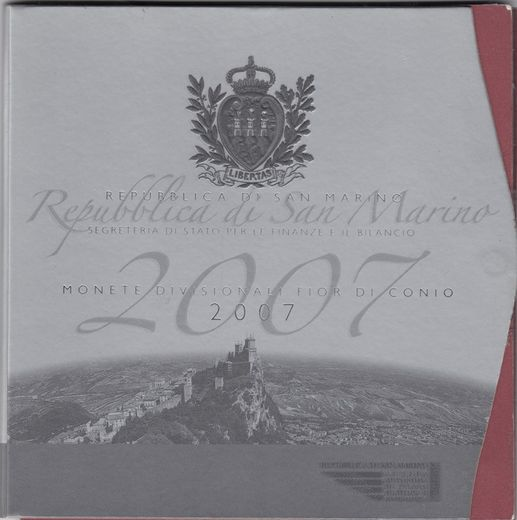 San Marino Coin set 2007 1cent-2euro + 5€ silver commemorative (UNC )