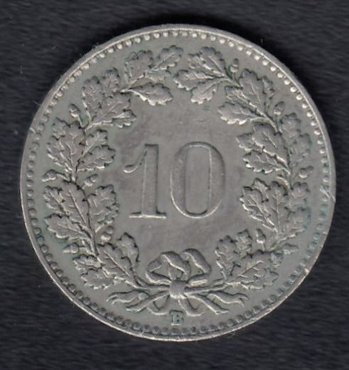 Switzerland 10 Rappen 1954 KM- 27 ( VF )
