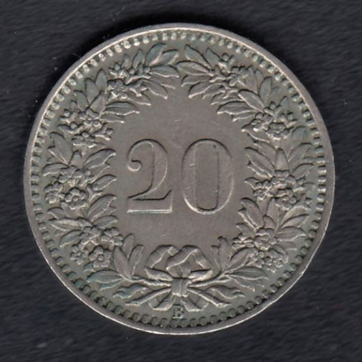 Switzerland 20 Rappen 1939 KM- 29a ( VF )