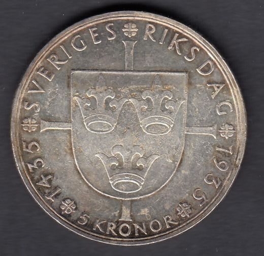 Sweden 5 Kronor 1935 Riksdag KM-806 ( VF ) glue on the surface Silver 25.1g / 900
