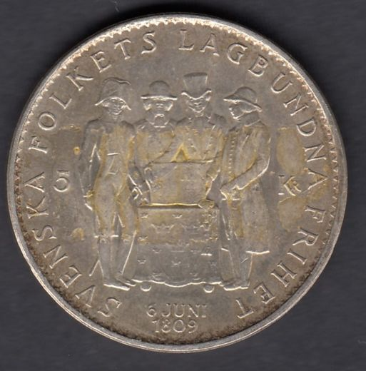 Sweden 5 Kronor 1959 Constitution KM-830 ( VF ) glue on the surface Silver 18g / 400