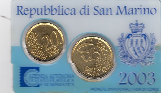 San Marino 20cent & 50 cent 2003 In coincard