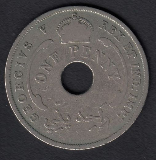 British West Africa 1 Penny 1929 KM-9 ( VF )