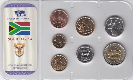 South-Africa 5,10,20,50 cents ja 1,2,5 Rand 2005-09 ( UNC )