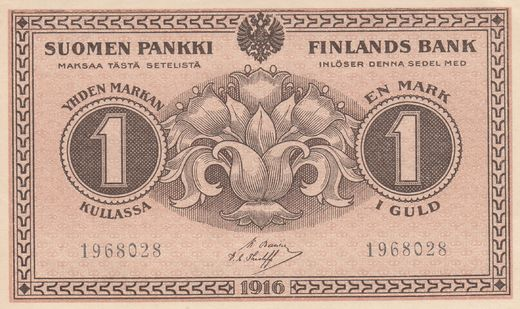 1 Markka 1916 1968028 ( UNC ) BAS -The