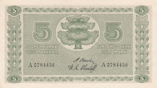 5 Markkaa 1922 A0784456 ( UNC ) BAS - The