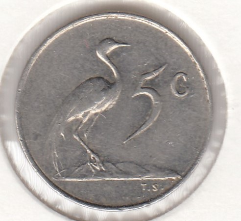 South-Africa 5 cents 1965 KM-67.1 ( VF ) cleaned