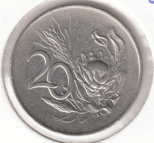 South-Africa 20 cents 1965 KM-69.2 ( VF ) cleaned