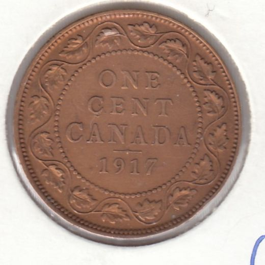 Canada 1 Cent 1917 KM-21 ( VF ) cleaned