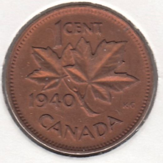 Canada 1 Cent 1940 KM-32 ( AUnc ) cleaned