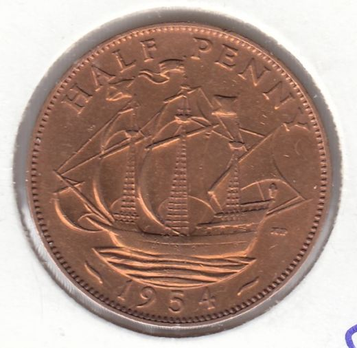 Great-Britain 1/2 penny 1954 KM-896 ( XF ) cleaned