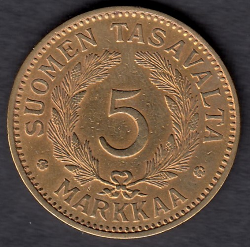 5 Markkaa 1932 AlPr ( VF ) cleaned