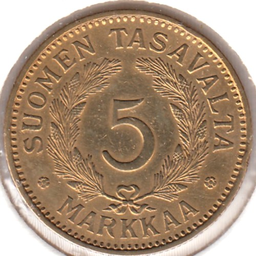 5 Markkaa 1932 AlPr ( F/VF ) cleaned