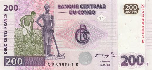 Congo democratic Repulic 200 Francs 2000 P-95 ( XF )