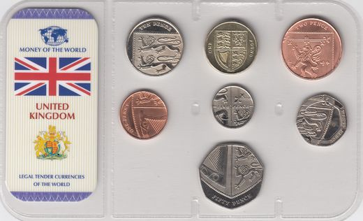 Great Britain 1 penny, 2,5,10,20,50 pence, 1 pound 2008 ( UNC ) + certificate