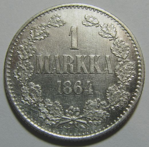 1 Markka 1864 ( VF/XF ) slightly cleaned