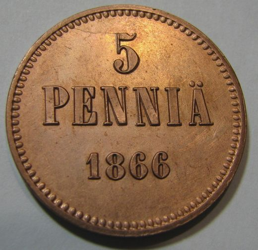5 Penniä 1866 ( AUnc )  Cleaned