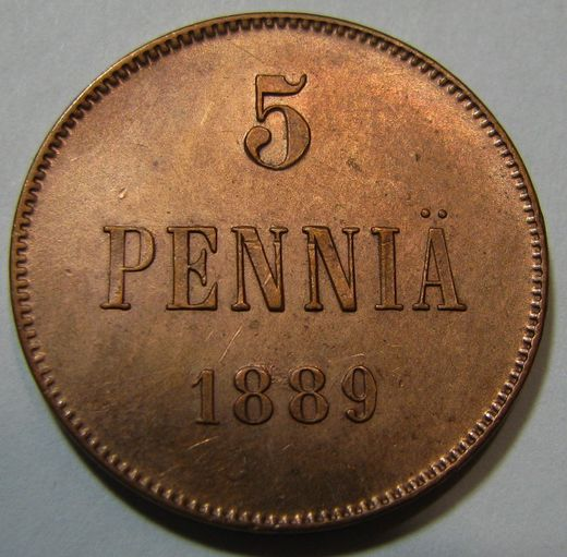 5 Penniä 1889 ( XF ) Cleaned