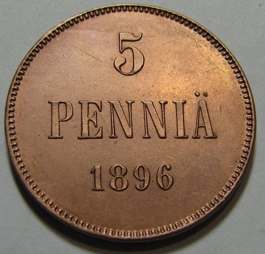 5 Penniä 1896 ( XF/AUnc ) Cleaned