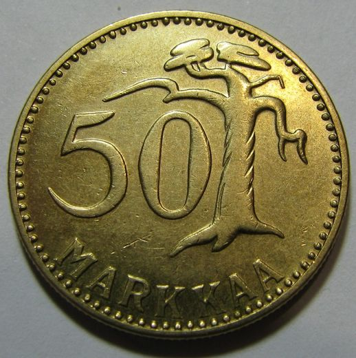 50 Markkaa 1956 ( AUnc ) Cleaned