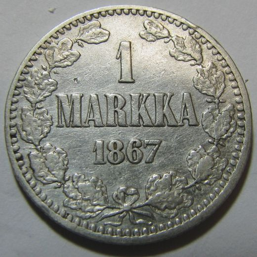1 Markka 1867 ( G/VF ) slightly cleaned