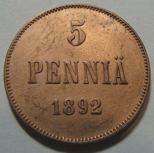 5 Penniä 1892  ( VF ) cleaned