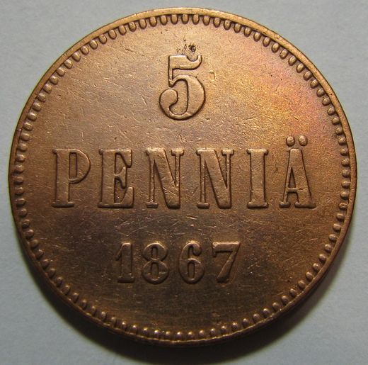 5 Penniä 1867 ( VF )  cleaned