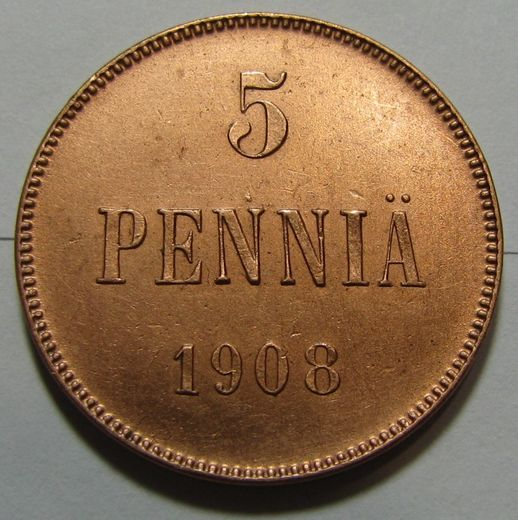 5 Penniä 1908 ( XF ) cleaned