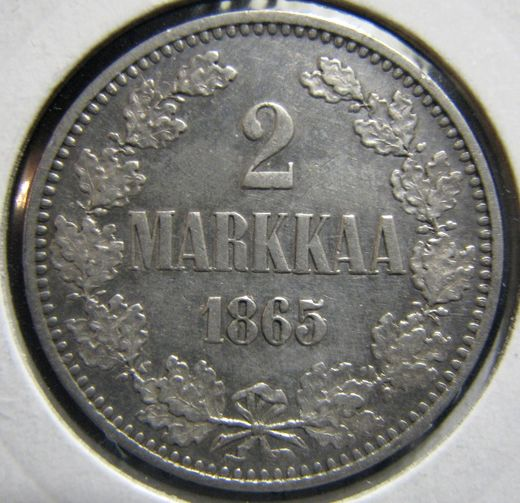 2 Markkaa 1965 II ( XF ) slightly cleaned