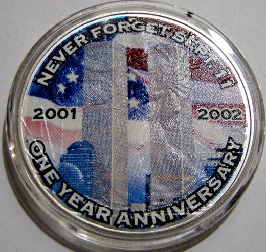 USA 1 Dollar 2001-02 one year anniv. ( UNC ) colored