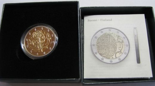 Finland 2 euro 2010 150 years of Finnish currency ( PROOF ) Box and cetificate