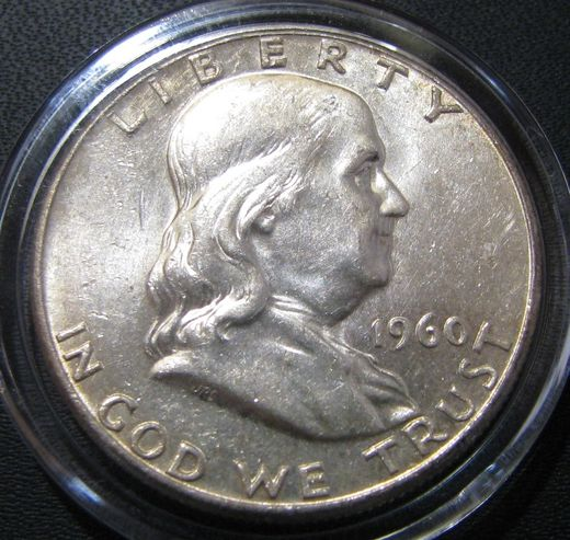 USA 1/2 Dollars 1960 Franklin KM-199 ( AUnc ) Silver 12.5g / 900