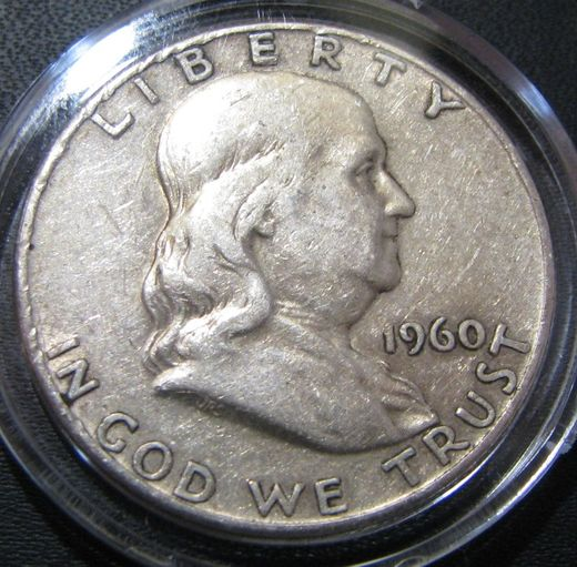 USA 1/2 Dollars 1960 Franklin KM-199 ( VF ) Silver 12.5g / 900