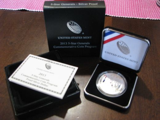 USA 1 Dollar 2013P 5-Star Gnerals ( PROOF ) Box and certificate