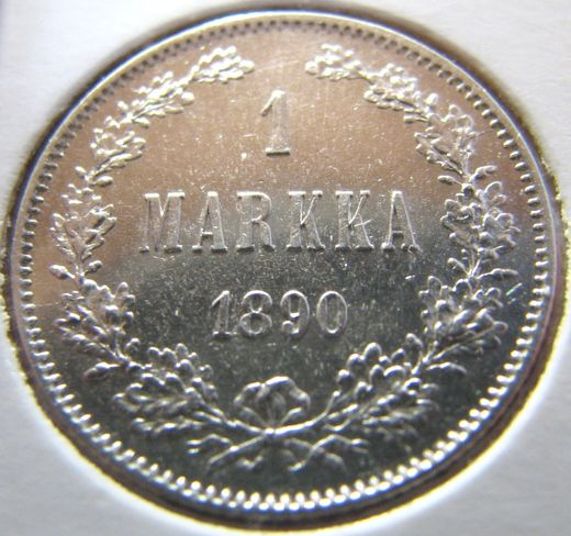 1 Markka 1890 ( AUnc ) slightly cleaned
