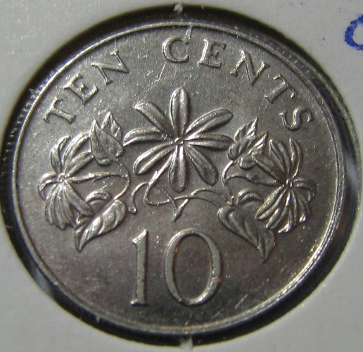 Singapore 10 cents 1986 KM-51 ( AUnc )