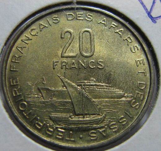 French Afars and Issas 20 Francs 1968 KM-15 ( UNC )