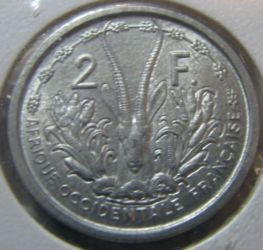 French West-Africa 2 Francs 1948 KM-4 ( UNC )