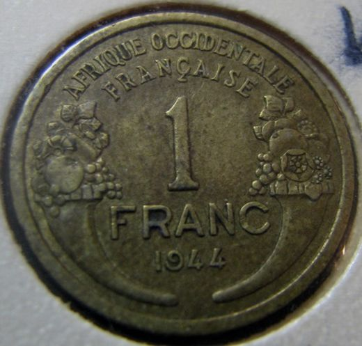 French West-Africa 1 Franc 1944 KM-2 ( VF )