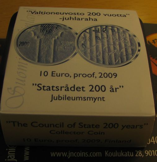 10 euro 2009 Finnish council of state ( PROOF ) Original box and cerficat