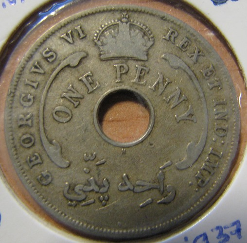 British West Africa 1 Penny 1937 KM-19 ( VF )