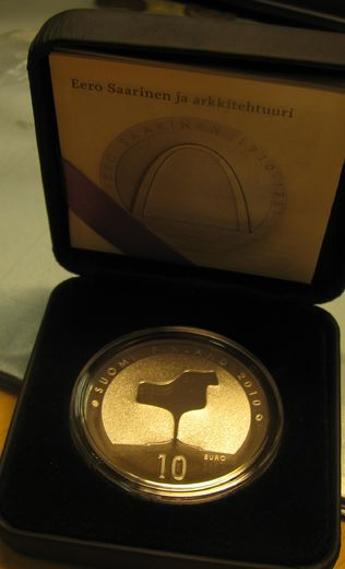 Finland 10 euro  2010 EERO SAARINEN and ARCHITECTURE  ( PROOF ) In box and certificat