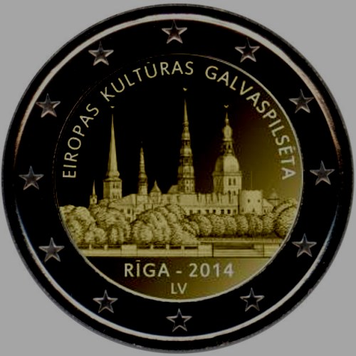 Latvia 2 euro 2014 Riga European of capital culture for 2014 ( UNC )