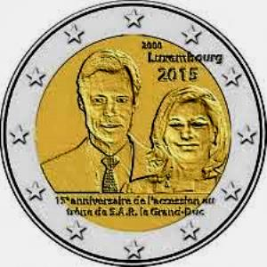 Luxembourg 2 euro 2015 15th Anniversary of Grand Duke Henri Accession to the Throne ( UNC )