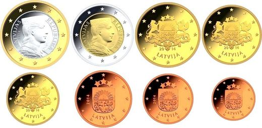 Latvija 2014 1 cent - 2 euro Loose coins serie from roll ( UNC )